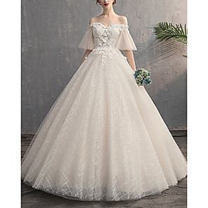 cheap Abstract Paintings-A-Line Wedding Dresses Off Shoulder Floor Length Lace Tulle Sleeveless Formal with Appliques 2020