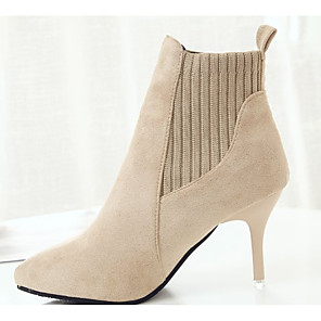 cheap Women's Boots-Women's Boots Stiletto Heel Pointed Toe Casual Basic Daily Solid Colored Suede PU Booties / Ankle Boots Walking Shoes Black / Beige
