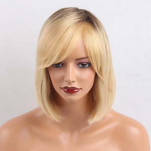 cheap Synthetic Trendy Wigs-Human Hair Wig Medium Length Natural Straight European Bob Side Part Blonde Women Natural Medium Size Capless Indian Hair Women's Blonde 12 inch / Ombre Hair