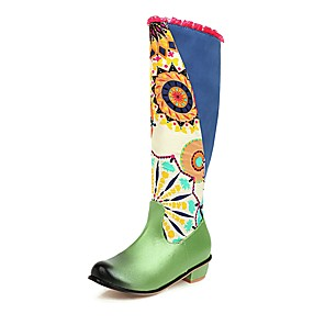 cheap Women's Boots-Women's Boots Block Heel Round Toe Vintage Chinoiserie Daily Party & Evening Floral Color Block Canvas Booties / Ankle Boots Purple / Green / Brown