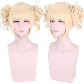 cheap Synthetic Trendy Wigs-Cosplay Costume Wig Cosplay Wig HimHimiko Toga My Hero Academia / Boku No Hero Curly With 2 Ponytails Neat Bang Wig Blonde Long Blonde Synthetic Hair 14 inch Women's Anime Cosplay Adorable Blonde