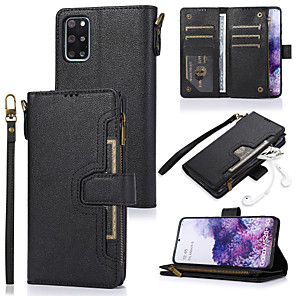 cheap TWS True Wireless Headphones-Case For Samsung Galaxy A51 A71 A70E A41 A31 A5 2018 A8 2018 Note 20 Card Holder Flip Magnetic Full Body Cases Solid Colored PU Leather