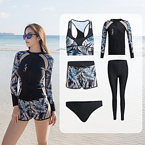 cheap Women's Swimsuits-Women's Rash Guard Dive Skin Suit Diving Suit UV Sun Protection Anatomic Design Quick Dry Stretchy Full Body Front Zip 5-Piece - Swimming Diving Surfing Snorkeling Floral / Botanical Autumn / Fall