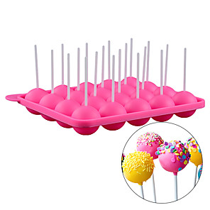 cheap Ice Cube Tray-1pc Cake Molds Holiday Silicone Cake Molds Everyday Use 20 Hole Round Lollipop