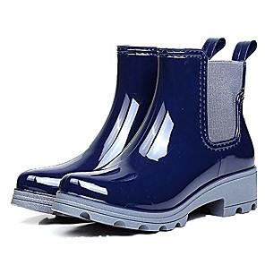 cheap Women's Boots-womens ankle chelsea rain boot gloss waterproof short bootie pull on rain shoes navy bluesize 6