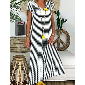 cheap Softshell, Fleece & Hiking Jackets-Women's A-Line Dress Maxi long Dress - Short Sleeve Striped Summer V Neck Casual Chinoiserie 2020 Black Red S M L XL XXL XXXL