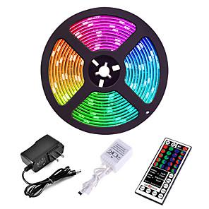 tanie Taśmy LED-5 m Zestawy oświetlenia Diody LED 3528 SMD 8mm RGB Pilot zdalnego sterowania Nadaje się do krojenia Przygaszanie 12 V / Możliwość połączenia / Samoprzylepne / Zmieniające się kolory / IP44