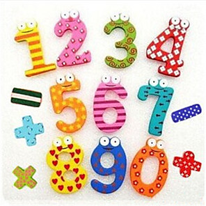 cheap Wooden Puzzles-Colourful Funny Math Symbol Wooden Fridge Magnets Educational Toy (Number 0-9 and Sign)