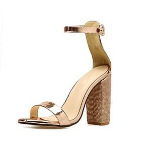 cheap Women's Sandals-Women's Sandals Wedge Heel Peep Toe Classic Daily Rhinestone Solid Colored PU Gold