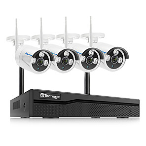 cheap NVR Kits-Techage h.265 Wireless NVR 4CH CCTV System 1080P Indoor Outdoor Security Camera System With 4P 1080P WiFi Cameras IP66 Waterproof With Audio Mobile&PC Remote Night Vision