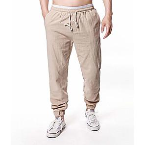 cheap OBD-Men's Basic Daily Slim Linen Harem Jogger Chinos Pants Solid Colored Breathable Spring Fall White Black Camel US38 / UK38 / EU46 US40 / UK40 / EU48 US42 / UK42 / EU50 / Drawstring / Elasticity