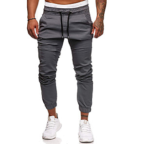 cheap Facial Steamer-Men's Basic Daily Going out Sweatpants Pants Solid Colored Drawstring Black Army Green Khaki M L XL