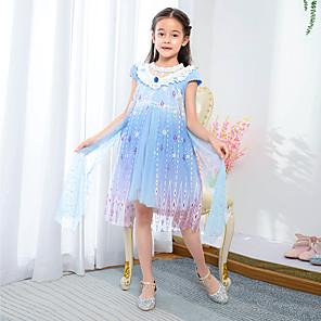 cheap Movie & TV Theme Costumes-Elsa Dress Cosplay Costume Girls' Movie Cosplay Princess Halloween Blue Dress Halloween Carnival Masquerade Polyester / Cotton