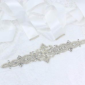 cheap Party Sashes-Satin / Tulle Wedding / Party / Evening Sash With Belt / Appliques / Crystals / Rhinestones Women's Sashes