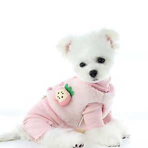 cheap Dog Clothes-Dog Coat Sweater Jumpsuit Fruit Casual / Daily Cute Casual / Daily Winter Dog Clothes Warm Blue Pink Costume Polyster XS S M L XL