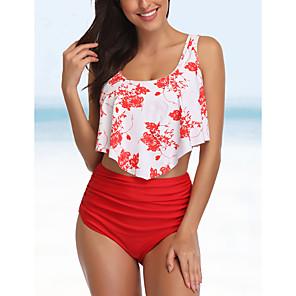 tanie Zestawy ubrań dla dziewczynek-Damskie Styl kwiatowy Styl nowoczesny Bikini Kostium kąpielowy Nadruk Kwiaty Halter Stroje kąpielowe Kostiumy kąpielowe Czarny Niebieski Czerwony Wino / Biustonosz z wkładkami