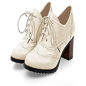 cheap Women's Boots-england brogue shoe womens lace-up mid heel wingtip oxfords vintage pu leather shoes beige