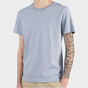 cheap Hiking Trousers & Shorts-Men's T-shirt Solid Color Tops Casual / Daily Fashion Round Neck White Black Blue