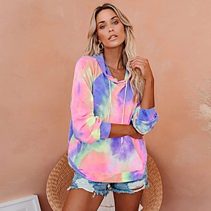 cheap Necklaces-Women's Daily Pullover Hoodie Sweatshirt Tie Dye Front Pocket Casual Hoodies Sweatshirts  Loose Blue Red Yellow