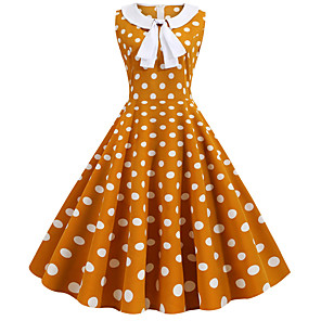 cheap Historical & Vintage Costumes-Audrey Hepburn Polka Dots Retro Vintage 1950s Dress Party Costume Women's Costume White / Red / Yellow Vintage Cosplay Party / Evening Homecoming Sleeveless