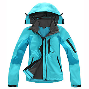 cheap Softshell, Fleece & Hiking Jackets-Women's Hiking 3-in-1 Jackets Hiking Jacket Winter Outdoor Thermal / Warm Waterproof Windproof Breathable Fleece 3-in-1 Jacket Top Red Fuchsia Green Light Sky Blue Skiing Camping / Hiking Hunting S M