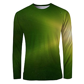 cheap Samsung Case-Men's T-shirt Graphic Long Sleeve Tops Basic Elegant Round Neck Green
