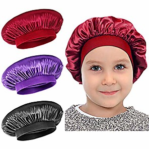 cheap Bathroom Gadgets-satin sleep cap - 3 pieces kids hair bonnet elastic wide band hat night hat hair loss cap for salon sleep spa