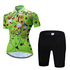 cheap Cycling Jerseys-Women's Short Sleeve Cycling Jersey with Shorts Polyester Yellow Red Pink Floral Botanical Bike Clothing Suit Breathable Quick Dry Moisture Wicking Sports Floral Botanical Mountain Bike MTB Road Bike
