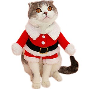 cheap Dog Collars, Harnesses & Leashes-pet christmas santa claus suit costume for small dogs cats jumpsuit winter coat warm clothes (red, x-large)