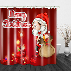 cheap Shower Curtains-Christmas Candle Santa Digital Print Shower Curtain Shower Curtains & Hooks Modern Polyester New Design