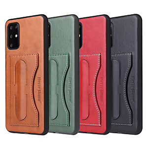 cheap Other Phone Case-Case For Samsung Galaxy S8 plus S9 Plus S10 plus S10 E plus S20 plus ultra Card Holder Shockproof  Holder Back Cover Solid Colored PU Leather vintage kickstand