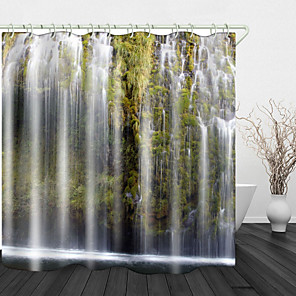 cheap Shower Curtains-Green Cliff Waterfall River Shower Curtains & Hooks Modern Polyester New Design