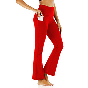 cheap Exercise, Fitness & Yoga Clothing-Women's High Waist Yoga Pants Side Pockets Flare Leg Tights Leggings Tummy Control Butt Lift Breathable Black Red Blue Yoga Fitness Gym Workout Sports Activewear Stretchy / Quick Dry
