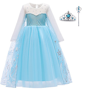 cheap Movie & TV Theme Costumes-Elsa Dress Cosplay Costume Girls' Movie Cosplay Halloween Blue Dress Wand Christmas Halloween New Year Polyester / Cotton Polyester