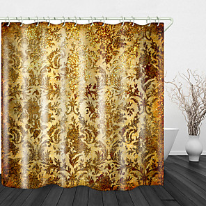 cheap Shower Curtains-Noble Golden Flowers Digital Print Waterproof Fabric Shower Curtain For Bathroom Home Decor Covered Bathtub Curtains Liner Includes With Hooks