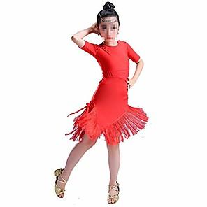 cheap Kids' Dancewear-girls tutu dancing dress dancing dresses sequin tassel skirt latin dance costumes for kids & #40;color : red, size : 140cm& #41;