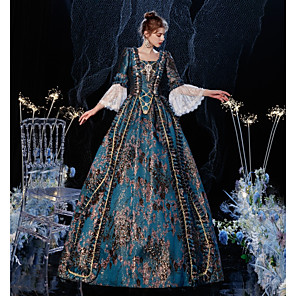 cheap Historical & Vintage Costumes-Princess Shakespeare Rococo Gothic Vintage Inspired Medieval Dress Party Costume Masquerade Women's Costume As Picture Vintage Cosplay Party Masquerade Wedding Party 3/4-Length Sleeve Ball Gown