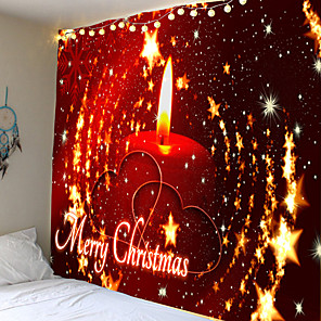 cheap Abstract Paintings-Christmas Weihnachten Santa Claus Wall Tapestry Art Decor Blanket Curtain Picnic Tablecloth Hanging Home Bedroom Living Room Dorm Decoration Candle Star Heart Romantic Polyester