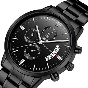 cheap Men's Necklaces-Men's Dress Watch Quartz Modern Style Stylish Casual Water Resistant / Waterproof Titanium Alloy Silver Analog - Black+Gloden White Black One Year Battery Life