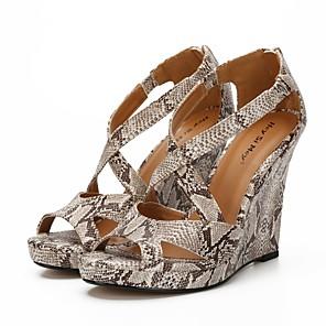 cheap Women's Sandals-Women's Heels Plus Size Wedge Heel Peep Toe Classic Basic Daily Solid Colored PU Walking Shoes Wine / Leopard / Black / 3-4