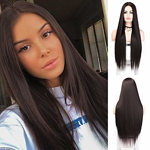cheap Synthetic Trendy Wigs-Synthetic Wig Natural Straight Middle Part Wig Long Brown Synthetic Hair 28 inch Women's Party Wedding Middle Part Brown