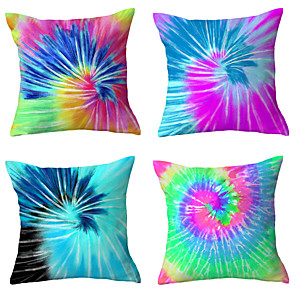 cheap Abstract Paintings-Set Of 4 Colorful Tie Dye Cushion Cover Watercolor Blooming Throw Pillow Cover Mandala Decorative Pillowcase 45*45 cm Home Decor