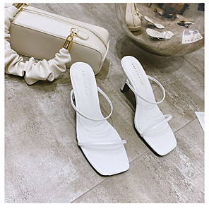 cheap Women's Sandals-Women's Sandals Stiletto Heel Open Toe Casual Daily Solid Colored PU White / Black