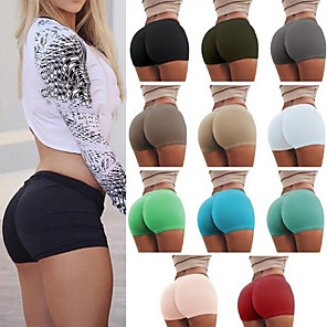 cheap Exercise, Fitness & Yoga Clothing-Women's Yoga Shorts Shorts Bottoms Tummy Control Butt Lift Breathable White Black Burgundy Yoga Fitness Gym Workout Sports Activewear Stretchy
