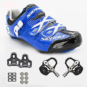 hesapli Bisiklet Ayakkabıları-Unisex Pedallı ve Kelepçeli Bisiklet Ayakkabıları Spor Ayakkabısı Yol Bisiklet Ayakkabıları Naylon ve Karbon Fiber Bisiklete biniciliği / Bisiklet Tamponlama Hava Alan File PU Havuz