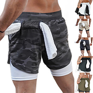 cheap Running & Jogging Clothing-Men's Running Shorts Athletic Bottoms 2 in 1 Liner Towel Loop Fitness Gym Workout Running Jogging Trail Training Breathable Quick Dry Soft Sport Dark Grey White Black Khaki Army Green Gray Camouflage