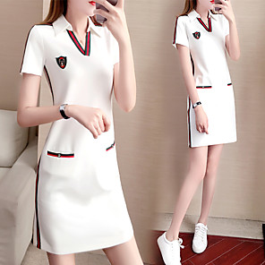 cheap Golf, Tennis & Badminton-Women's Golf Dress Short Sleeve Breathable Soft Athleisure Outdoor Autumn / Fall Spring Summer Spandex Solid Color White Black / Stretchy