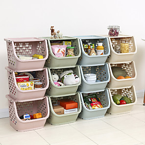 cheap Bathroom Gadgets-Plastic Superimposing Kitchen Storage Basket Fruit and Vegetable Basket 1Pc