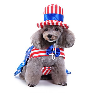 cheap Dog Clothes-Dog Halloween Costumes Costume Shirt / T-Shirt National Flag Birthday Fashion Christmas Party Dog Clothes Breathable Blue Costume Polyester S M L XL