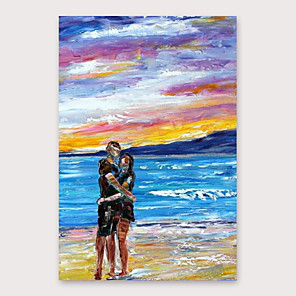 cheap Abstract Paintings-IARTS Hand Painted Love by the sea Oil Painting with Stretched Frame For Home Decoration With Stretched Frame